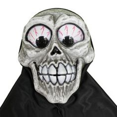 This scary skull Halloween mask with large teeth and bloodshot eyes is sure to scare someone when you wear it to your next Halloween party. Scary Halloween Masks, Scary Mask, Halloween Skull, Halloween Party, Bloodshot Eyes, Black Hood, Smiley, Party Supplies, Fictional Characters