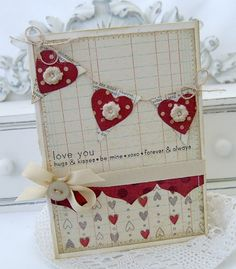 Banner, Heart Prints, and Victorian Lace Border dies, Simple Valentine, Simple Sentiments