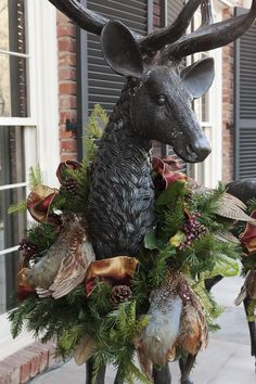 Christmas: Southern Glamour / karen cox. ... Pheasant wreath is perfect on this deer or great on a sleigh