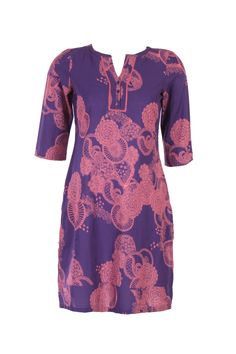 Purple Printed Kurta; Round Neck; Quarter Sleeve; 37 Inches Long; 100% Cotton #Clothing #Fashion #Style #Kurta #Wear #Colors #Apparel #Semiformal #Print #Casuals #W for #Woman