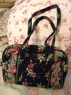 Vera Bradley Small Duffle Handbag pattern Black Hope on Etsy, $35.00