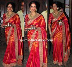 Sridevi Kapoor's Stunning Karwa Chauth Look in Sabyasachi saree Orange Saree, Red Saree, Saree Look, Saree Blouse, Silk Saree Kanchipuram, Kanjivaram Sarees, Silk Sarees, Sabyasachi Sarees, Indian Sarees