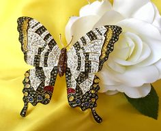 Joan Rivers Vintage Signed Zebra Swallowtail Butterfly Brooch, Joan Rivers Butterfly Brooch, Joan Rivers Jewelry by MACJewelryDesign on Etsy