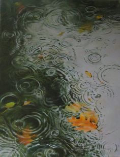 'Autumn Rain' - Oil on Canvas, by Rosemary Ladd. Rain And Thunderstorms, Rain Wallpapers, Phone Wallpapers, November Rain, October Poem, Smell Of Rain, I Love Rain, Rain Painting, Rain Photography
