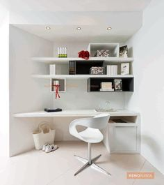 A conventional study room with fully coloured decor, stylish book shelves and beautiful ceiling lights against the matching walls. See more stylish stroage ideas at renomania.com