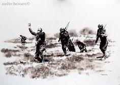 100 Jahre sind seit den fürchterlichen Ereignissen an der Somme und Verdun vergangen. Zeit, darüber nachzudenken, was Krieg eigentlich bedeutet. Und das nicht nur beim Gegner, sondern auch für die eigenen Soldaten und (was manche allzu schnell vergessen) meist auch für die eigene Zivilbevölkerung. Der Gasangriff Sepiakreide auf Papier 70x50cm Leipzig 2016 Alle Bilder sind käuflich zu erwerben. (Bitte Verfügbarkeit erfragen)