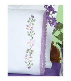 Jack Dempsey Stamped Pillowcases With Hemstitched Edge Starflowers