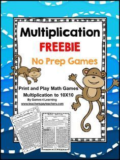 FREEBIE - Multiplication games - just print and play - NO PREP games for basic multiplication facts Play Math Games, Multiplication Activities, Fun Math Activities, Maths, Numeracy, Fifth Grade Math, Third Grade, Fourth Grade, Teaching Math