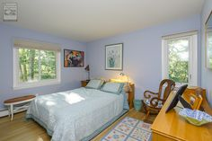 Such a delightful bedroom where we installed a new sliding window and casement window this summer...  Home Improvement / Home Remodeling / Bedroom Renovation / Replacement windows from Renewal by Andersen Long Island