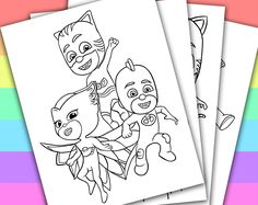 DIGITAL - INSTANT DOWNLOAD PRINTABLE COLORING PAGE  This listing give you a series of 4 printable coloring pages of PJ MASKS. You can use these coloring pages for your children's birthday party, or a small party in the classroom if you are a te...