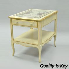 Vintage French Country Provincial Style Floral Painted Cream 1 Drawer End Table #FrenchProvincial
