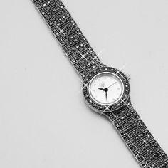 Zegarek srebrny z markazytami Watches, Leather, Accessories, Fashion, Moda, Wristwatches, Fashion Styles, Clocks, Fashion Illustrations