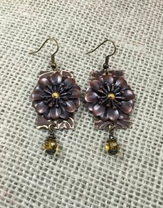 Fall Floral Earrings   Copper and Citrine by pendantparadise