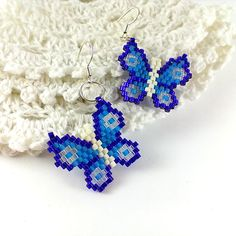 Blue butterfly earrings Wings earrings Beaded earrings by Galiga