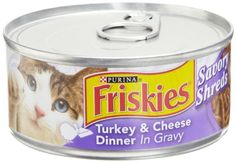 BESTSELLER! Friskies Cat Food Savory Shreds Turkey & Cheese Dinner in Gravy, 5.5-Ounce Cans (Pack of 24) $16.78- Omg my favorite, but I can't have too much.