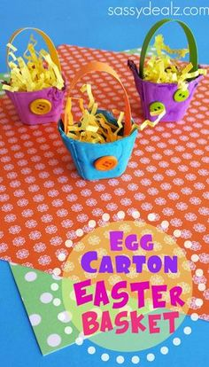 Egg Carton Easter Basket Craft for Kids. Get out your recycled egg cartons to make an Easter basket! This is a fun kids craft for the holiday! Easter Projects, Easter Art, Easter Crafts For Kids, Diy For Kids, Craft Kids, Egg Carton Crafts, Basket Crafts, Diy Ostern, Daycare Crafts