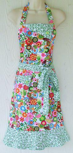 Retro Floral Apron, Flowers, Birds, Vintage Inspired, Women's Retro Style Apron, Full Apron, KitschNStyle