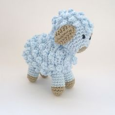 Amigurumi Little Blue Sheep / Lamb Handmade Crocheted Soft Toy. $12.00, via Etsy.