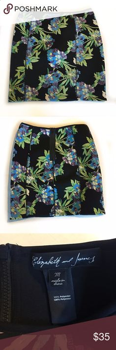 Elizabeth and James floral scuba skirt. NWOT NWOT Elizabeth and James floral scuba skirt. 100% polyester Neoprene material, which makes for a very flattering fit. Exposed zipper in back! Black with purple & blue flowers, as well as green. Retails for $325 me is People out. Measurements in photos Elizabeth and James Skirts