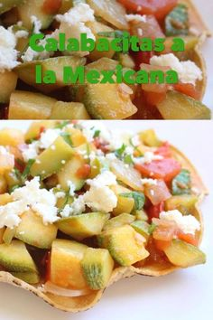 Calabacitas a la Mexicana is a yummy and easy recipe. It makes the perfect topping on a crunchy tostada. Ready to be enjoyed in minutes. Real Mexican Food, Mexican Cooking, Mexican Style, Healthy Eating Recipes, Baby Food Recipes, Vegetarian Recipes, Cooking Recipes, Mexican Calabacitas Recipe, Mexican Pork Recipes