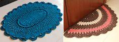 Step by Step String Mat (Grafiken und Formen! Owl Rug, Crochet Squares, Crochet Earrings, Crochet Hats, Rugs, Jeans, Crochet Rug Patterns, Carpet Design, Rag Rugs
