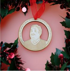 Still Game Jack Wooden Christmas Decoration Outlander Locations, Still Game, Wooden Christmas Decorations, Laser Cut Jewelry, Wooden Decor, Red Ribbon, Cow, Celebrity, Christmas Tree