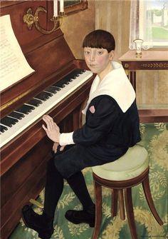 JONGEN AAN DE PIANO ((PORTRET VAN BERNARD DE CRAENE) (1920) by Gustave van de Woestyne (Belgian 1881-1947)