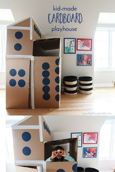 From the garbage to the bedroom. Create your own kid-made cardboard playhouse.