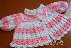 Casaquinho de lã em crochê para bebês