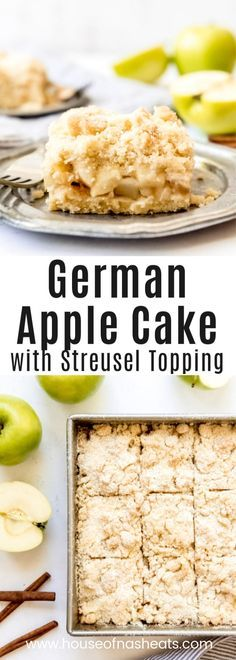 German Apple Cake w/ Streusel Topping [Apfelkuchen mit Streusel] -- one of my favorite traditional German desserts that I know you are going to love too; -tender, juicy apple filling is topped with a sweet, crunchy streusel on a buttery shortbread crust. Fudge Recipes, Apple Recipes, Cupcake Recipes, Dessert Recipes, Potato Recipes, Recipes Dinner, Pasta Recipes, Crockpot Recipes, Soup Recipes