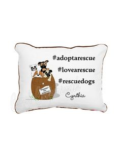 Hashtag Rescue Dog Pillow. Personalized.