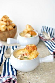 Fish Chowder with Barramundi and Old Bay Croutons from @Design Unlimited McNamara ~ Simply Scratch