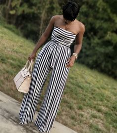 May 2020 - Navy White Striped Strapless Belted Palazzo Jumpsuit Black Girl Fashion, I Love Fashion, Passion For Fashion, Fashion Looks, Fashion Fashion, Stylish Outfits, Fashion Outfits, Womens Fashion, Dressy Outfits