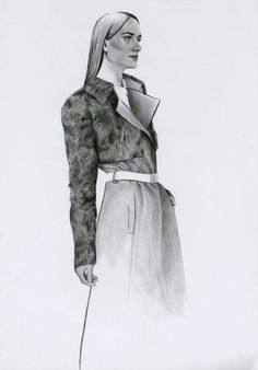 An exquisite sketch of the Parade Trench Coat and Parade Shrug by Richard Kilroy. Cool Cartoons, Fashion Sketches, Trench, Illustrator, Paintings, Costumes, Drawings, Clothing, Fashion Sketchbook