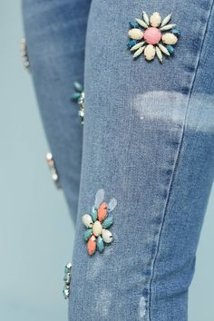 Slide View: 3: Pilcro Embellished High-Rise Skinny Ankle Jeans