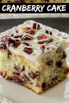 The BEST homemade cranberry bliss coffee cake recipe. This soft coffee cake with cranberries is a twist on the Starbucks Cranberry Bliss Bar and is super popular with our family. #letthebakingbegin #dessert #cake #dessertrecipe #cranberry #cranberrycake Easy Cake Recipes, Sweet Recipes, Baking Recipes, Cookie Recipes, Delicious Cake Recipes, Cranberry Cake, Cranberry Recipes, Köstliche Desserts, Dessert Recipes