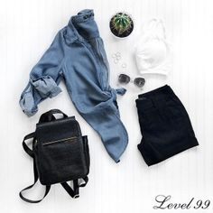 Some basics to start your week, thanks to Semblance Boutique and #Level99Jeans. Shop our shorts and chambray shirt!