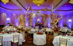 This Indian wedding reception ends with a party that is decorated in cool hues of blue and lavendar, and a touch of warm peach. The bride matches her wedding decor with a wedding lengha in orange and steel blue. Anniversary Party Decorations, Wedding Venue Decorations, Anniversary Parties, Wedding Centerpieces, Wedding Table, Rustic Wedding, Branch Centerpieces, Wedding Ideas, Wedding Inspiration