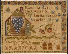 Little by Little REMEMBER ME Cross Stitch Chart ~ Cyntia Bradford ~house sampler