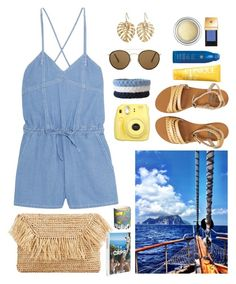 """Capri Travel Outfits"" by gicreazioni ❤ liked on Polyvore featuring MANGO, Billabong, Clinique, Soleil Toujours, Assouline Publishing, The Sak, Ray-Ban, Steve J & Yoni P, Fornasetti and Fujifilm"