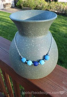 Blue DIY Wood Bead Necklace