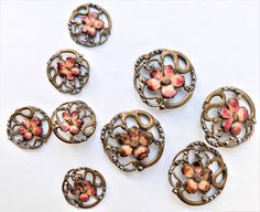 c1900 Enamel, Cut Steel & Brass Buttons Vintage Antique Button