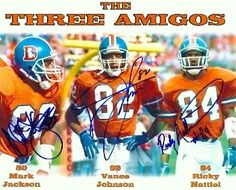 """Denver Broncos Three Amigos were a group of wide receivers that got this name in 1987. The Three Amigos included Vance Johnson, Mark Jackson, and Ricky Nattiel. """"The  Three Amigos"""" are the most popular names of receivers in Denver Broncos History."""