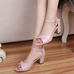 Peep Toe Block Heels Ankle Straps Bow Faux Leather Women's Prom Shoes Sandals