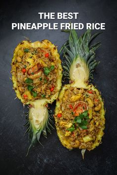 The BEST Pineapple Fried Rice on a Pineapple Bowl Recipe & Video - Seonkyoung Longest Rice Recipes, Seafood Recipes, Asian Recipes, New Recipes, Dinner Recipes, Cooking Recipes, Chinese Recipes, Sauce For Rice, Seonkyoung Longest