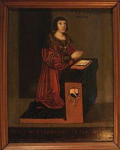 """Bayard: Pierre Terrail(portrait du XVIesiècle).- Pierre du Terrail, seigneur de Bayard, chevalier français surnommé """"Chevalier sans peur et sans reproche"""" (Château de Bayard 1473/75-Romagnama Sesia, Italie, 1524)- En 1486, il devint page du duc Charles de Savoie jusqu'à la mort de celui-ci (1490); il passe ensuite dans la maison du comte de Ligny, au service du roi de France. Il est armé chevalier par Charles VIII après la bataille de Fornoue (juil1495)."""