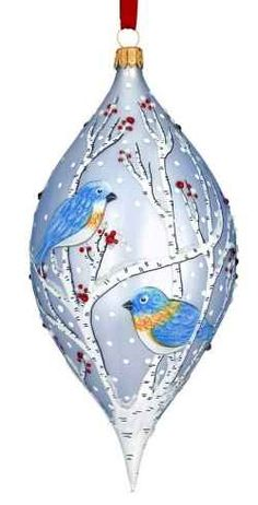Hand Painted Glass Blue Birds Ornament