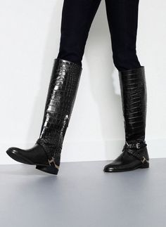 Crocodile skin effect boots