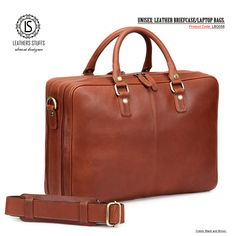 Double Zip Leather Business Bag / Laptop Bag / Portfolio Case / Work Bag - New Leather Laptop Bag, Leather Briefcase, Laptop Bags, Shoulder Pads, Shoulder Strap, Portfolio Case, Business Essentials, Laptop Computers, Leather Handle