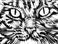 Lino cutting of cat